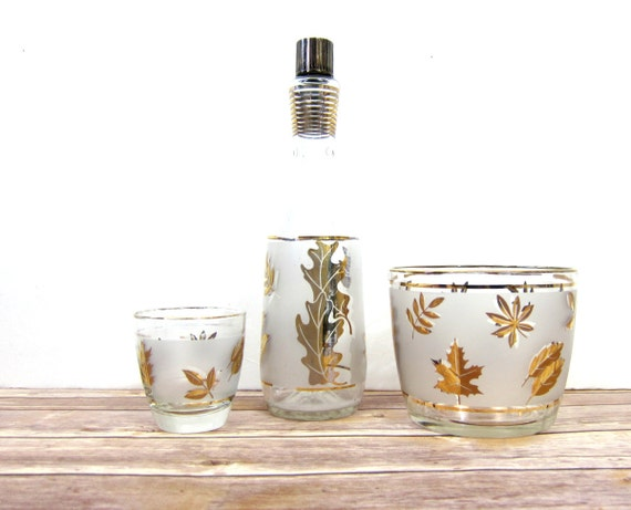 Gold Leaf whiskey cocktail Bottle Fall Foliage Frosted glass Ice Bucket Retro Mad Men Style Bar Decor Hipster 1960s Mid Century Bar Set