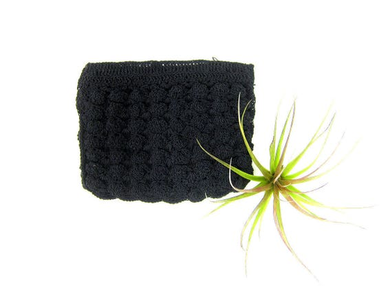 Small Black Crochet Coin purse coinpurse Vintage Kleenex Makeup Ditty bag women's Antique purse Crocheted Knit Pouch