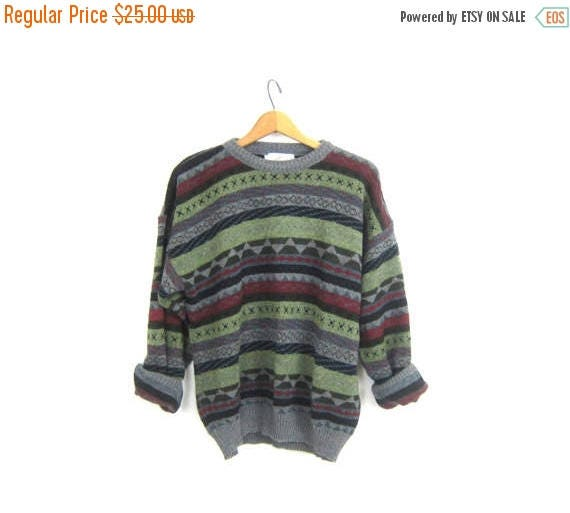 80s Retro Sweater Abstract Boyfriend Pullover Slouchy Purple Gray Abstract Sweater Pattern Knit JUMPER Unisex Size Medium