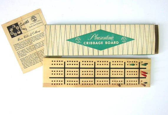 Cribbage Game Vintage Wood Cribbage Board Retro Card Party Night complete