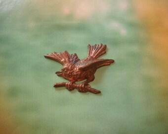 Metal Bird Pendant, Bird Vintage brass stamping pendant charm, 1, no hole