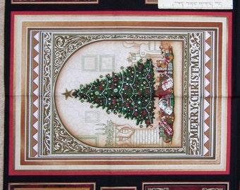 "Christmas Elegance Fabric Panel - 24"" Santa Clause Tree Poinsettia Blocks RJR"