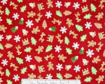 Christmas Fabric - Gingerbread Xmas Cookie Toss Red - RJR Cotton YARD