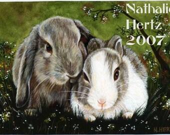 ACEO Limited Edition Hand Embellished PRINT Rabbit Bunny Animal Wildlife ART