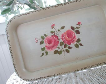 Vintage Metal Tray * Pink Roses * Hand Painted * Shabby Chic * Cottage * Old Farmhouse