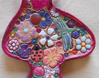 Red Border Mushroom Shape Leather Key Fob with Flower Garden Design OOAK