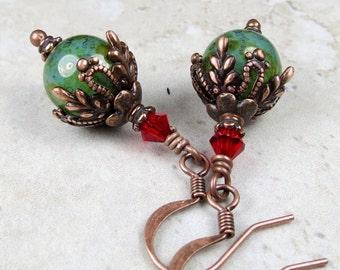 Jade Green Czech Glass Bead Dangle Drop Earrings, Green Earrings, Czech Glass Earrings, Christmas Earrings, Copper Earrings, Vintage Style