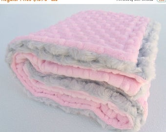 ON SALE Light Pink and Gray Minky Baby Blanket - Silver Rose Swirl for girl Can Be Personalized