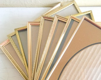 Set of 8x10 Vintage Gold Brass Metal Picture Frames 8 count
