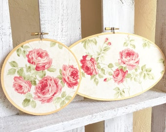 Pair of Matching Romantic Shabby Chic Embroidery Hoop Framed Floral Fabric Roses Wall Hangings