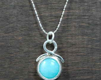Amazonite Gemstone Pendant, Amazonite Necklace, Seafoam Necklace, Blue Necklace, Round Necklace