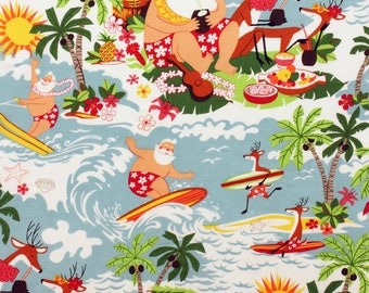 Surfin' Santa reindeer and tropical holiday
