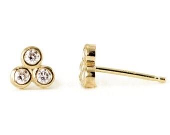 Diamond Trio Studs - 14k Gold Diamond Earrings - Trinity Studs - Tiny Triangle Studs