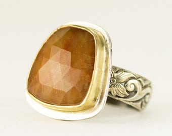 Rose Cut Sapphire Ring set in 18k Gold and Sterling - Custom Ring in Rose or Yellow Gold