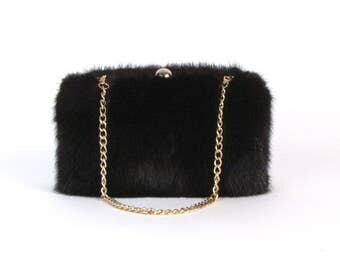 Mink Clutch ~ Black Mink Clutch ~ Black Mink Bag ~ Mink Fur Bag ~ Real Fur Bag ~ Plush Mink Handbag ~ Mink Handbag ~ Black Fur Clutch  Bag