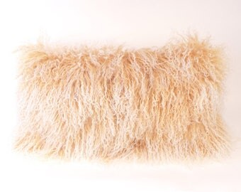 Mongolian Fur Pillow ~ Beige Fur Pillow ~ Snow Top Tibetan Lamb Pillow ~ Genuine Mongolian Pillow ~ Tan and White Mongolian Lumbar Pillow