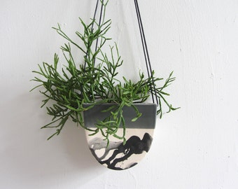 Large Half Moon Hanging Planter in Splatter  - Made to Order