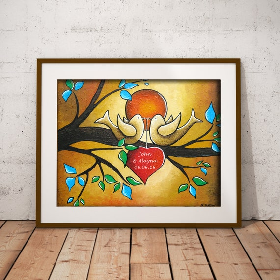 Whimsical Love Birds Art Custom Print Personalized Gift for Couples Romantic Wedding Gift