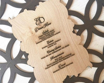 Laser cut and engraved wooden rustic menu card