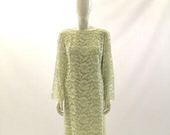 Vintage Dress 1960s Dress  Light Green Dress Lace Dress Formal Dress Church Dress Wedding Dress Bridesmaids Dress