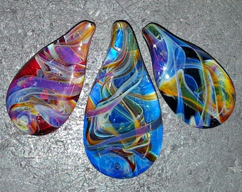 aurora borealis Northern Lights spatial magnetics  lampwork glass pendant bead art glass by joe crisanti