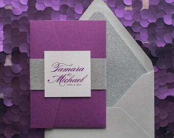 Digital  - Vertical Purple and Silver Glitter Pocket Folder Wedding Invitations - SAMPLE (LAUREN)