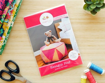Hexagon Pouf HARD COPY Paper Sewing Pattern Triangle Patchwork Ottoman Pattern