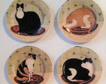 Dollhouse Plates, card  plates, Cat plates, Country kittens, Kitchen,  hand finished, twelfth scale dollhouse accessory