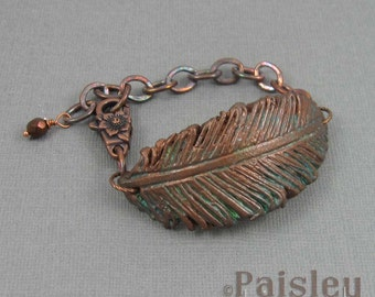 Copper Patina feather bracelet, rustic polymer clay feather on antiqued copper chain with lobster clasp