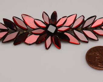 Victorian Ruby Vauxhall Mirrored Glass Brooch:  beveled glass shapes - mid 1800's - unique metal backing