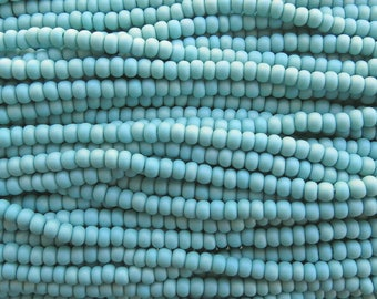 6/0 Matte Opaque Turquoise AB Czech Glass Seed Bead Strand (CW116) SE