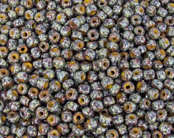 4/0 (5x4mm) Opaque Yellow with Brown and Red Stripes Picasso Czech Glass Seed Beads 20 Grams (CS192) SE