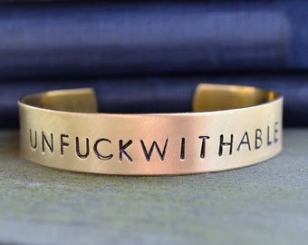 Unfuckwithable Bracelet - Empowering Jewelry - Motivational Jewelry - Motivational Bracelet - Girl Power - Funny Jewelry