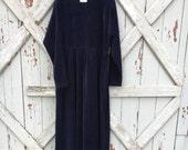 1980s Amanda Stewart blue velvet dress L XL