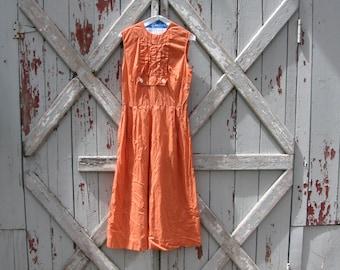 Peach - vintage 1950s dress  S M