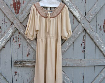 1970s Melissa Lane cream peasant dress L XL