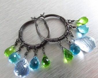 25% Off Blue Topaz Gemstone Hoop Earrings
