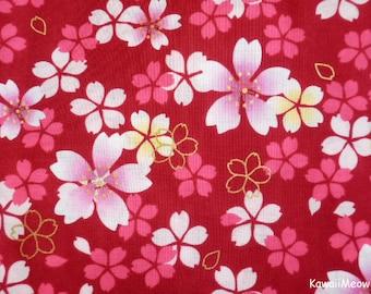 Japanese Kimono Fabric - Sakura Cherry Blossoms on Red - Fat Quarter (na161212)