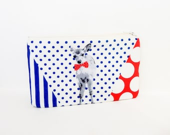 Deer Pouch, Zipper Pouch, Pouch, Fabric Pouch, Small Pouch, Coin Purse, Change Pouch, Small Zipper Case, Holiday Gift, Gift for Her, Bow Tie