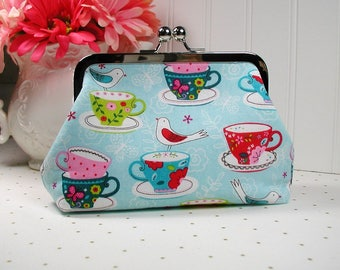 Metal Frame Purse, Frame Purse Clutch,  Kiss Lock Purse .. Tea Party in Aqua, Tea Cups and Birds