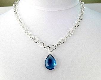 50% SALE London Blue Quartz Necklace, Large Blue Stone Choker, Minimalist Jewelry, Statement Jewelry, Chain Necklace