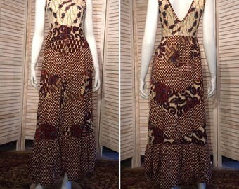 Vintage African Wax Batik Dress Vintage Hippie Dress Block print floral chevron patchwork tiers  Festival Dress Tiered Sundress S Long maxi