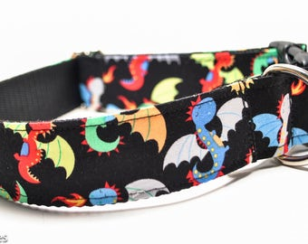 Cartoon Dragons Dog Collar / Game of Thrones Dragons / 1.5 inch or 2 inch Wide Dog Collar