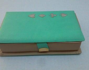 Vintage Aqua Card Case Set with 2 decks, pencils, Mascot score pad Bridge Pinochle Gin Rummy Retro 50s-60s EXCELLENT CONDITION