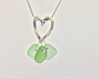 Sea Glass and Sterling Heart Triple Pendant Necklace