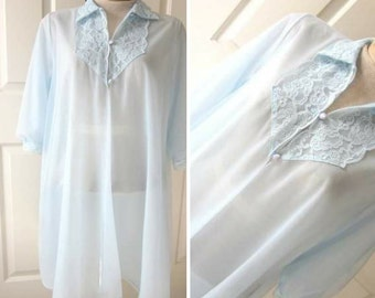 1960's Vintage Peignoir Robe - 1960s Light Blue Sheer Robe - Vintage Lingerie - Mid Century Womens Robe - Size Medium