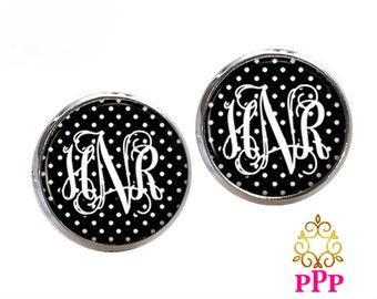 Monogram Stud Earrings, Black Polka Dot, Personalized Earrings, Monogram Jewelry  (369)