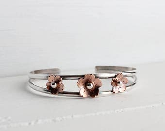 Chery Blossom Cuff, Triple cherry blossom cuff, handmade by Hapa Girls, Sterling silver Cuff, Mothers day gifts