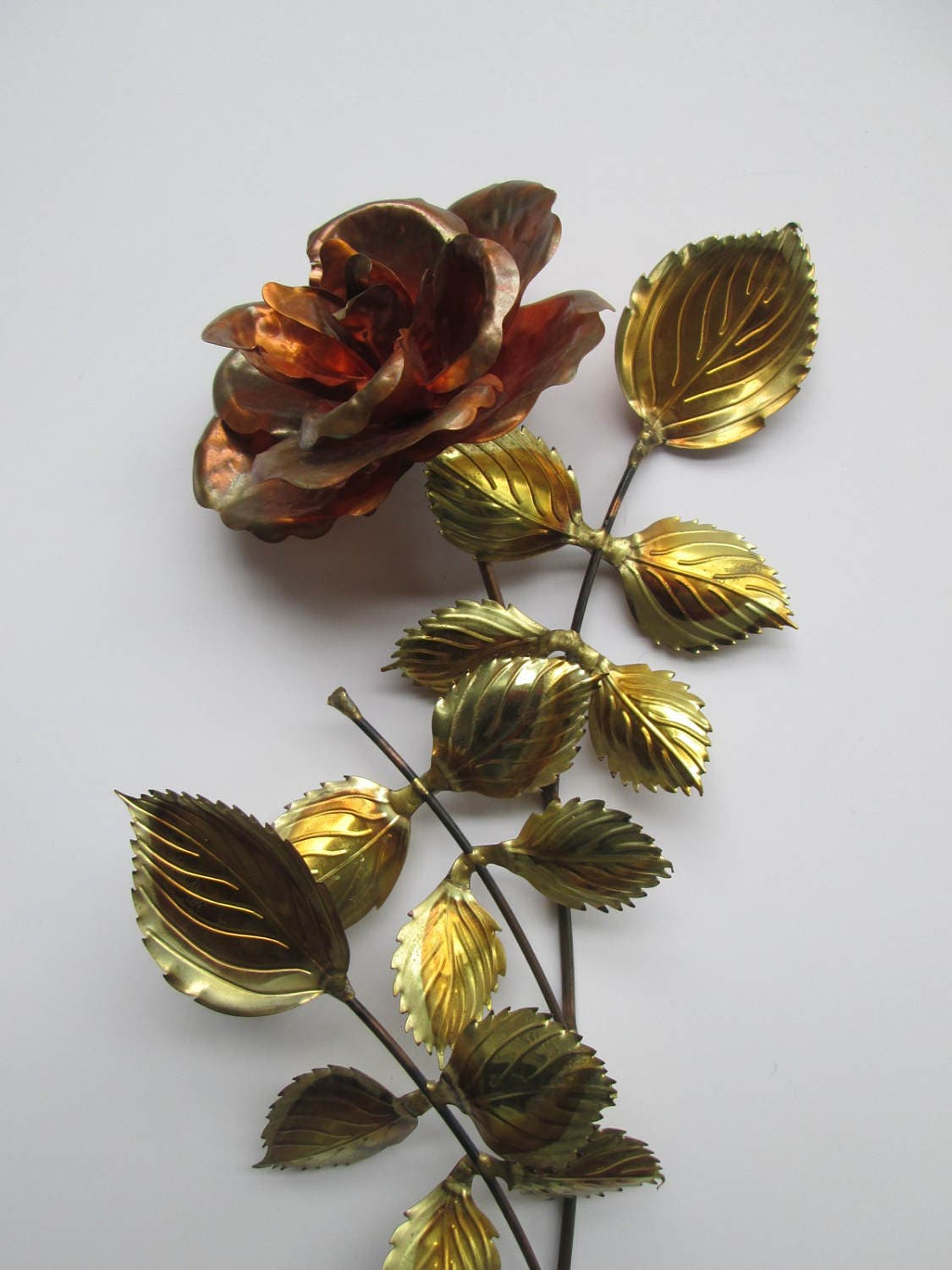 Metal Rose Wall Art Copper & Brass Metal Rose Wall Art Sculpture E10231018401479694M