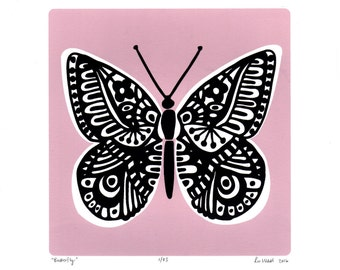 Butterfly Limited Edition Screen Print (Slate Teal) A4 size